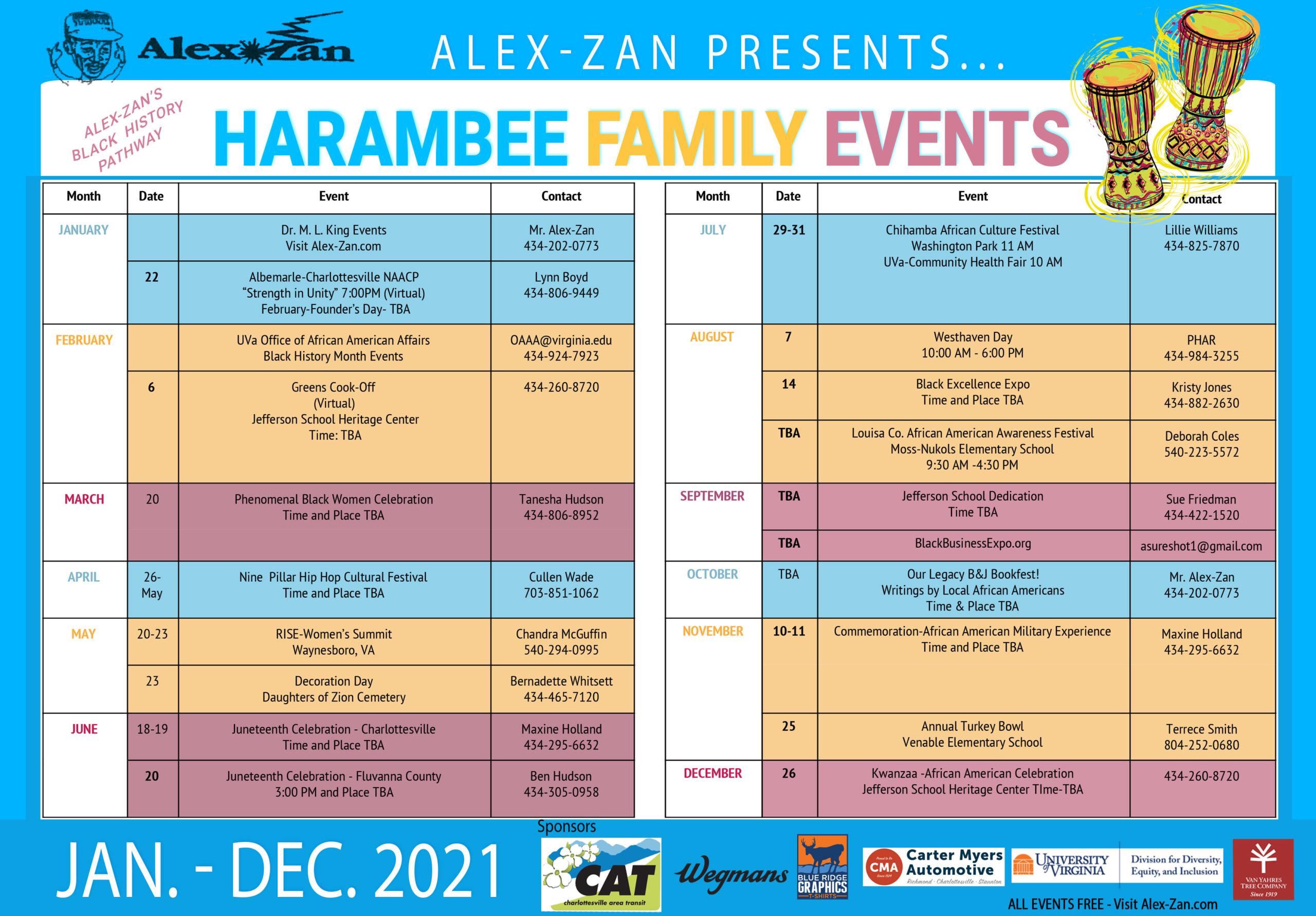 Harambee Family Calendar Charlottesville Events